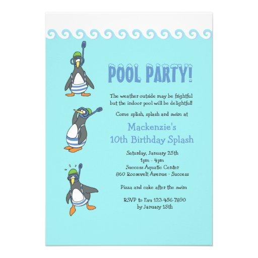 Invitación de la fiesta en la piscina del invierno