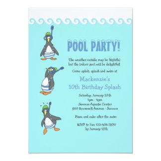 Invitación de la fiesta en la piscina del invierno invitación 12,7 x 17,8 cm