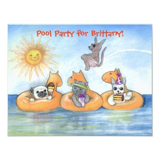 Invitación de la fiesta en la piscina del niño