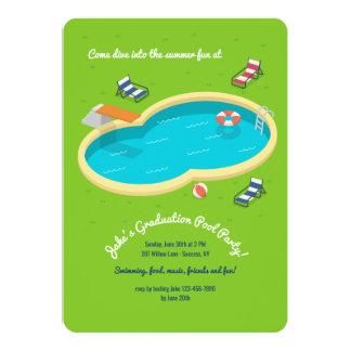 Invitación de la fiesta en la piscina del patio