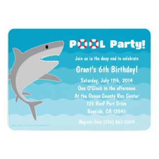 Invitación de la fiesta en la piscina del tiburón invitación 12,7 x 17,8 cm
