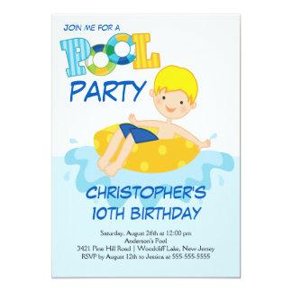 Invitación de la fiesta en la piscina del verano invitación 12,7 x 17,8 cm