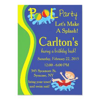 Invitación de la fiesta en la piscina para el invitación 12,7 x 17,8 cm