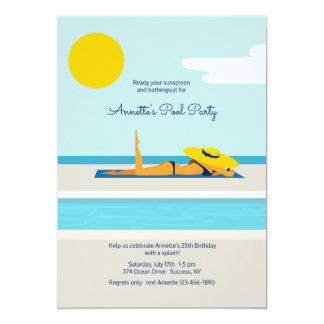 Invitación de la fiesta en la piscina que toma el
