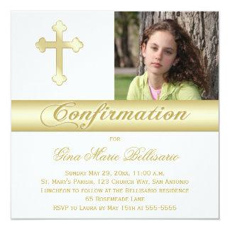 Invitación de la foto de la confirmación del oro