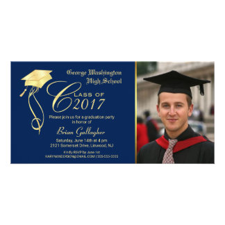 Invitación de la foto de la fiesta de graduación tarjetas fotográficas
