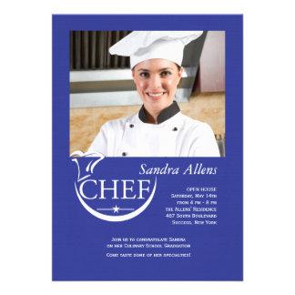 Invitación de la foto de la graduación del cociner