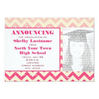 Invitación de la foto de la graduación del zigzag invitación 12,7 x 17,8 cm