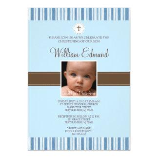Invitación de la foto de la raya azul del bautizo