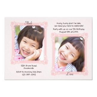 Invitación de la foto de los pares del marco invitación 12,7 x 17,8 cm