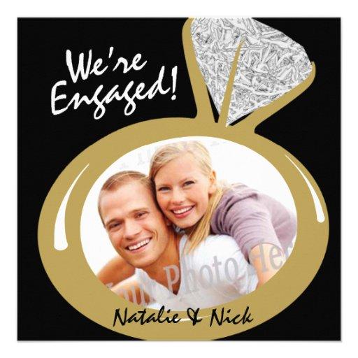 Invitación de la foto del anillo de compromiso