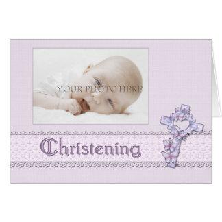 Invitación de la foto del bautizo de la lavanda tarjeta pequeña