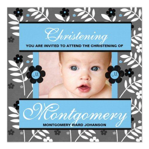 Invitación de la foto del bautizo para el monogram