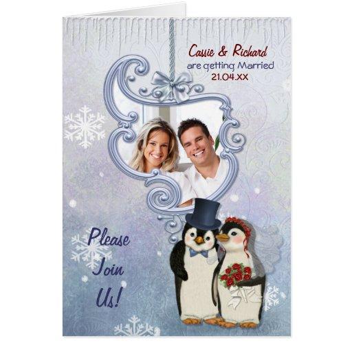 Invitación de la foto del boda del pingüino felicitación