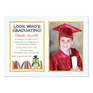 Invitación de la foto del búho de la graduación