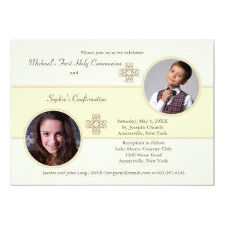Invitación de la foto del camafeo de los hermanos invitación 12,7 x 17,8 cm