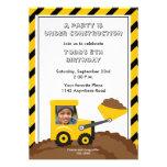 Invitación de la foto del cumpleaños de la constru