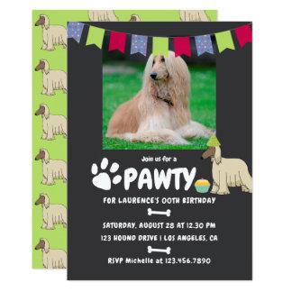 Invitación de la foto del cumpleaños del perro de