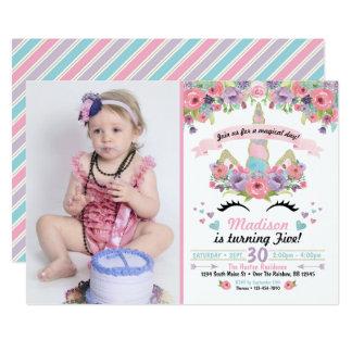 Invitación de la foto del cumpleaños del unicornio