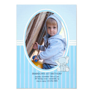 Invitación de la foto del elefante del bebé