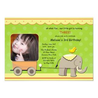 Invitación de la foto del elefante y del carro