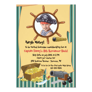 Invitación de la foto del fiesta del pirata