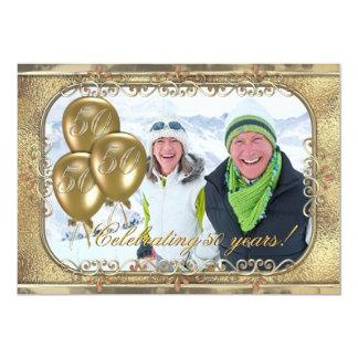 Invitación de la foto del globo del aniversario