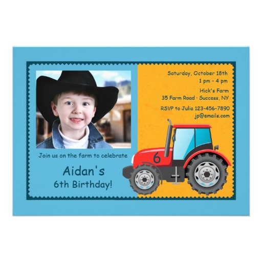 Invitación de la foto del vehículo de la granja