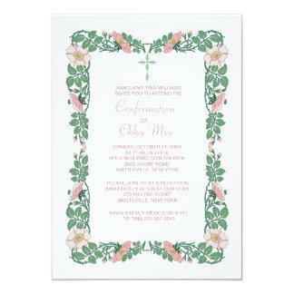 Invitación de la frontera de la flor invitación 12,7 x 17,8 cm