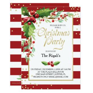 Invitación de la función del navidad - rayas rojas