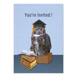 Invitación de la graduación, búho chistoso