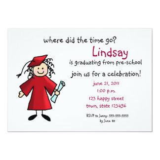 Invitación de la graduación--Chica, rojo
