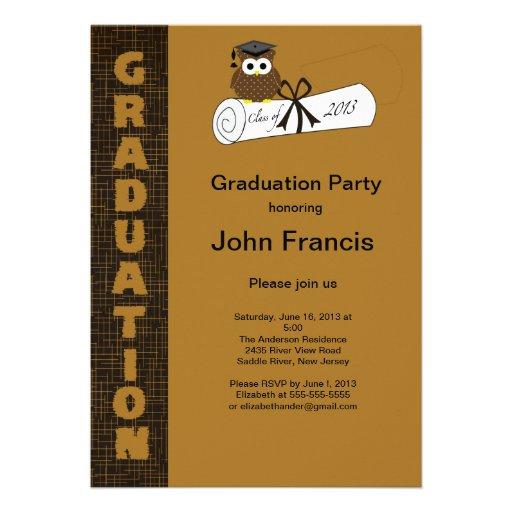 Invitación de la graduación del búho de Brown