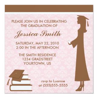 Invitación de la graduación del damasco invitación 13,3 cm x 13,3cm