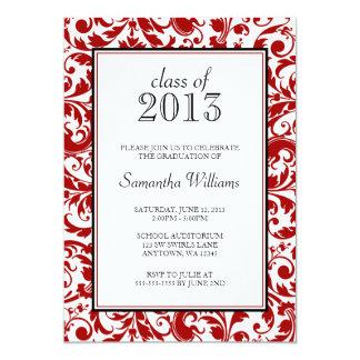 Invitación de la graduación del damasco del invitación 12,7 x 17,8 cm