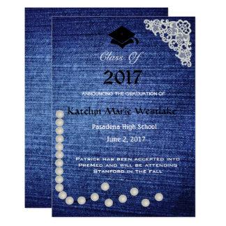 invitación de la graduación del dril de algodón