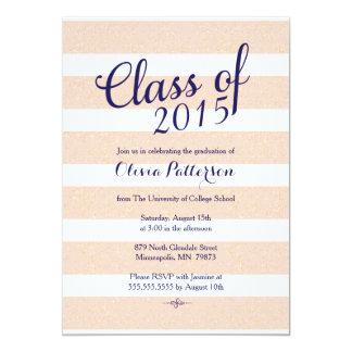 Invitación de la graduación - rosa y brillo del