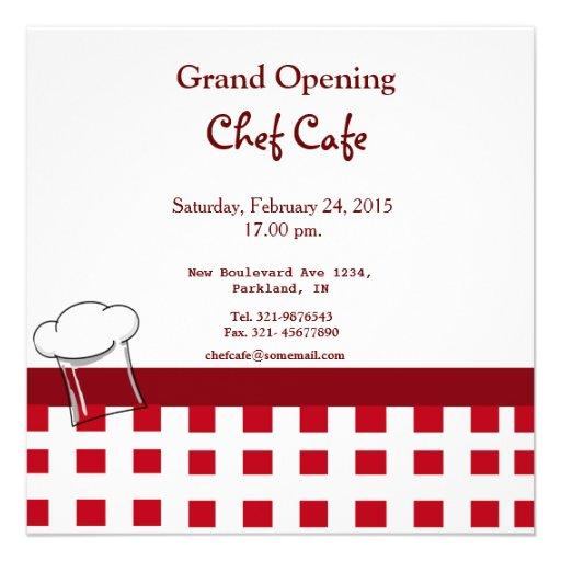 Invitación de la gran inauguración del café