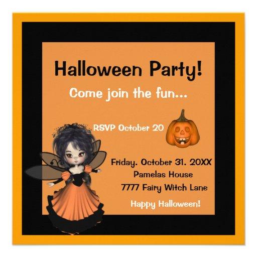 Invitación de la hada de la bruja de Halloween