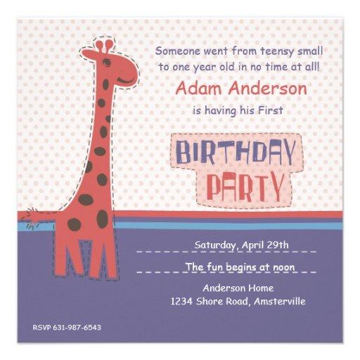 Invitación de la jirafa de la fiesta de cumpleaños