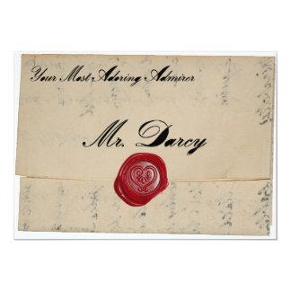 Invitación de la letra de amor de Sr. Darcy