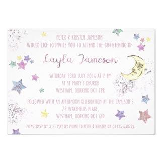 Invitación de la luna de los rosas bebés y del