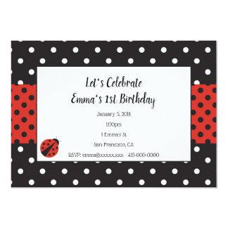 Invitación de la mariquita para el cumpleaños o la