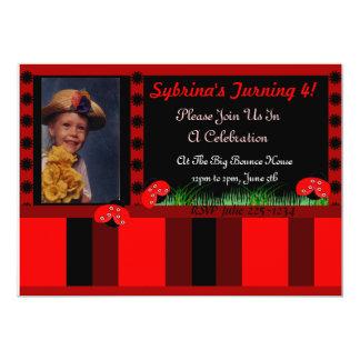 Invitación de la mariquita y de las rayas invitación 12,7 x 17,8 cm