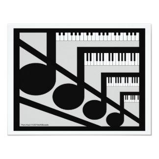 Invitación de la música del piano invitación 10,8 x 13,9 cm