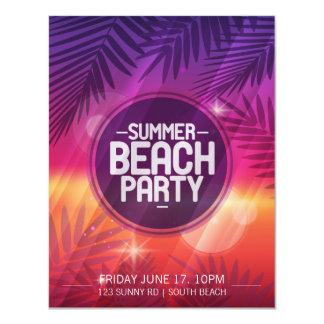 Tarjeta Invitación de la noche del fiesta de la playa del