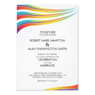 Invitación de la onda del arco iris del matrimonio