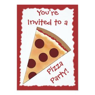 Invitación de la pizza con la rebanada de la pizza
