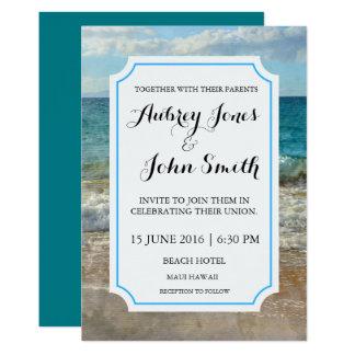 Invitación de la playa o del boda de la acuarela