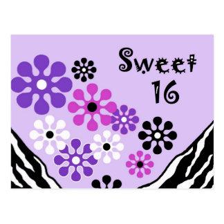 Invitación de la postal de la cebra del dulce 16